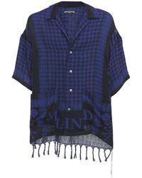 MASTERMIND WORLD フリンジストールコットンシャツ - ブルー