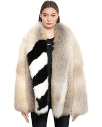 Off-White c/o Virgil Abloh Fox Fur Coat With Stripes - Natural