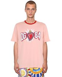 Dolce & Gabbana T-shirt In Jersey Di Cotone - Rosa