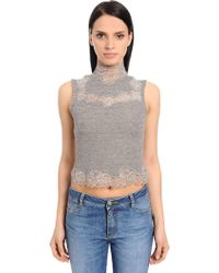 Ermanno Scervino - Wool Knit Crop Top W/ Lace Inserts - Lyst