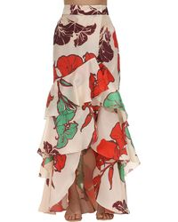 Johanna Ortiz Printed Silk Organza Skirt - Red