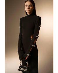 Mach & Mach Vestido Maxi De Jersey Con Aberturas - Negro
