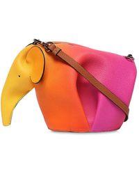Loewe - Pink And Orange Spray Mini Elephant Bag - Lyst