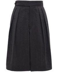 Moncler Genius Bermuda Washed Silk Blend Shorts - Black