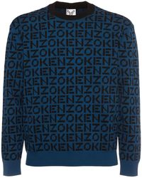 KENZO Jacquardpullover Aus Baumwollmischung - Blau