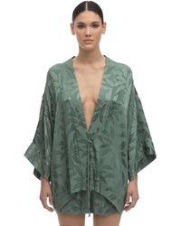 """Love Stories Kimono """"Suky Leaf"""" In Raso Jacquard - Verde"""