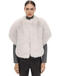 Blancha Short Sleeves Shadow Fur Jacket - White
