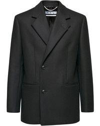 Off-White c/o Virgil Abloh Короткое Пальто Из Смешанной Шерсти - Черный