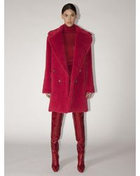 Max Mara Lvr Exclusive Adenia Alpaca Teddy Coat - Red