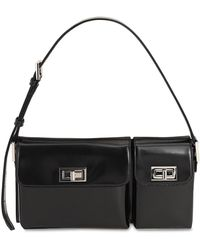 BY FAR Billy Bag In Black Semi Patent Leather