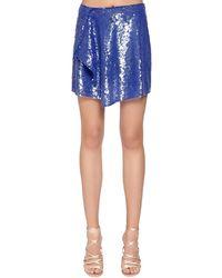 Alberta Ferretti スパンコール ミニスカート - ブルー