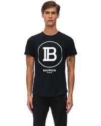 Balmain フロックド コットンジャージーtシャツ - ブラック