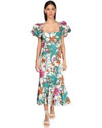 Johanna Ortiz Printed Cotton Poplin Puff Sleeves Dress - Mehrfarbig