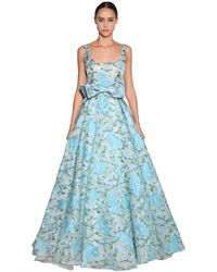 Luisa Beccaria Embroidered Organza Long Dress - Blue