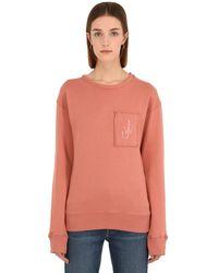 JW Anderson Sweatshirt Aus Baumwolle Mit Patch - Pink