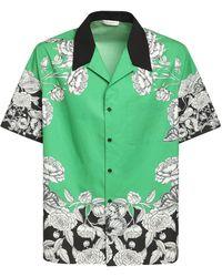 Valentino Рубашка Боулинг Из Хлопка - Зеленый