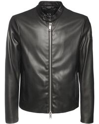 Armani Exchange Faux Leather Biker Jacket - Black