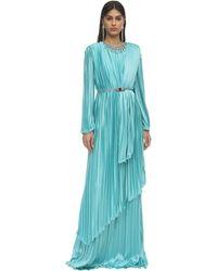 Gucci Plisse Satin Long Dress W/ Crystals - Blue