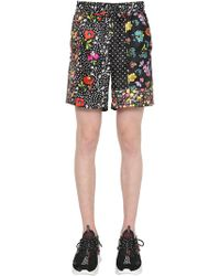 Versace - Floral Printed Silk Twill Shorts - Lyst