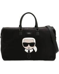 Karl Lagerfeld K/ikonik Patch Nylon Weekender Bag - Black