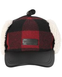 DSquared² - Check Wool & Leather Hat W/ Shearling - Lyst
