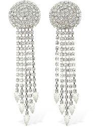 Alessandra Rich Long Crystal Fringe Clip-on Earrings - Mehrfarbig