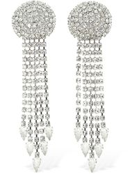 Alessandra Rich Long Crystal Fringe Clip-on Earrings - Mehrfarbig