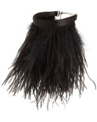 The Attico Ostrich Feather Anklet - Black