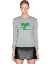 Courreges - Logo Printed Cotton Sweatshirt - Lyst