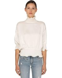 Givenchy Satin Crepe Top W/ Waved Details - White