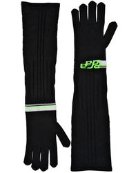 Prada Logo Intarsia Tech Knit Long Gloves - Black
