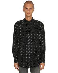 Balenciaga ロゴプリント コットンポプリンシャツ - ブラック