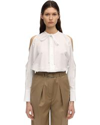 Courreges Cotton Poplin Shirt W/ Cut Outs - White