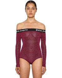 Palm Angels Logo Band Off The Shoulder Bodysuit - Purple