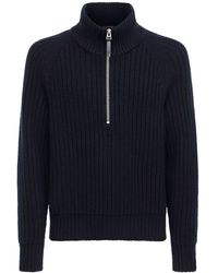 Tom Ford Cashmere Wool Knit Turtleneck Jumper - Blue