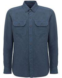 Tom Ford Рубашка Из Льна И Хлопка - Синий