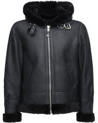 Schott Nyc Lc 1259 Hooded Shearling Aviator Jacket - Black