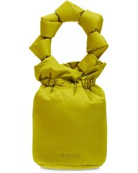 """Ganni Mini Handtasche Aus Technosatin """"knots"""" - Gelb"""
