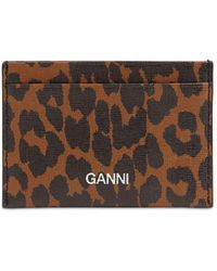 Ganni Printed Leather Card Holder - Brown