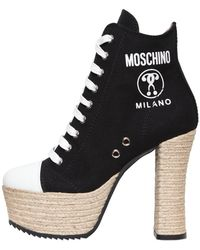 Moschino 120mm Canvas Lace Up Boots - Black