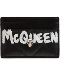 Alexander McQueen Quilted Nappa Graffiti Card Holder - Черный