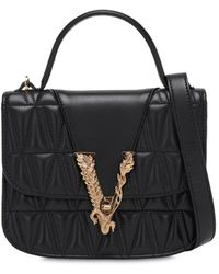 Versace Virtus Quilted Leather Top Handle Bag - Black