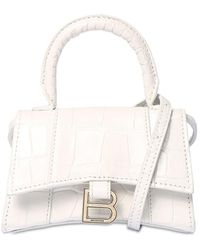 "Balenciaga Bolso Mini ""hourglass"" De Piel Efecto Cocodrilo - Blanco"