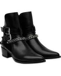 Amiri Jodhpur Ankle Chain Leather Boots - Black