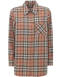 """Burberry Camicia """"carlota"""" In Popeline Di Cotone Check - Marrone"""