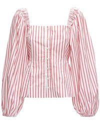 Ganni Gestreiftes Hemd Aus Baumwollpopeline - Rot