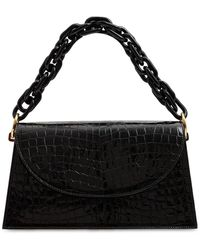 Les Petits Joueurs Lexie Chain Embossed Patent Leather Bag - Black