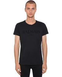 Balmain - フロックドロゴ コットンジャージーtシャツ - Lyst