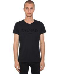 Balmain - Flocked Logo Cotton Jersey T-shirt - Lyst