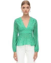 RIXO London Шёлковая Рубашка С Принтом - Зеленый